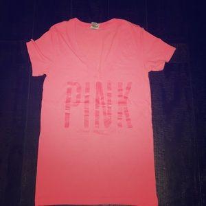 Pink V neck Tee